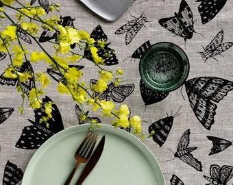 Black Moths linen table runner