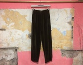 1990s Nicole Farhi Olive Green Velvet High Waist Tapered Trousers UK 8-10, US 4-6, EU 36-38