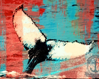 The Tangerine Fluke | Atlantic Humpback Whale  Art | At Checkout, Choose Lustre Print or Gallery Wrapped Canvas