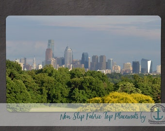 Placemat - Philadelphia Skyline | Belmont Plateau Hometown City Decor | Anti Skid/Non Slip Fabric Top Rubber Backed Awesomeness