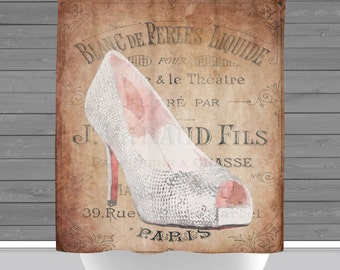 High Heel Shower Curtain: Shoe Fashion Paris Inspired | Made in the USA | 12 Hole Fabric Bathroom Decor