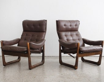 Pair of Mid Century Reclining Chairs / Leather
