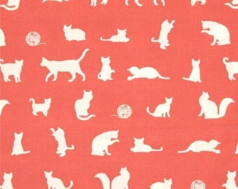 The Cat Chase Coral From Birch Organic Fabric's Farm Fresh Collection by Jay-Cyn Designs