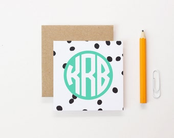 Monogram Cards Small Gift Enclosure Personalized Mini Cards with Envelopes Black and White Polka Dot Stationary Birthday Gift Tag /Set of 24