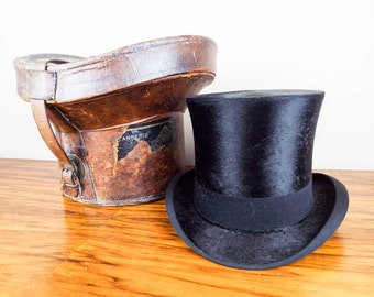 Antique Victorian Youmans Top Hat Opera Hat Original Leather Case, Victorian Wedding  Headwear for Groom, Steampunk Accessories for Him