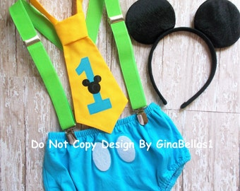 Mickey Mouse Birthday outfit cake smash Green suspenders yellow blue FREE EARS I am one 1 tie diaper cover optional hat 9 12 18 24 toddler