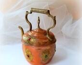 HEART SALE Moroccan Copper Kettle - Brass Accents - Copper Decor - Vintage Copper Kettle