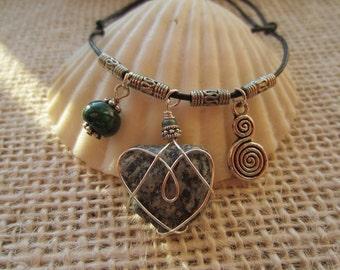 Boho Bracelet, Swirl Charm, Green Agate, Black/White Beach Heart
