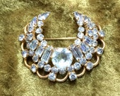 Kramer of New York Rhinestone Crescent Pin in Pale Blue and Gold Stunning and Elegant Designer Rhinestone Brooch Jewelry Gift for Her