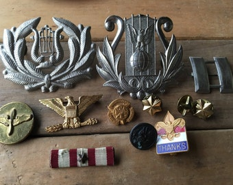 Twelve Vintage Mostly Military Pins and Button
