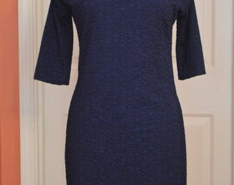 Handmade Caul-neck Dress Dress, Navy-Blue, size 4-6