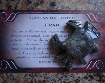 Hand Carved *CRAB* Animal Spirit Cancer Totem for Spiritual Jewelry or Crafts