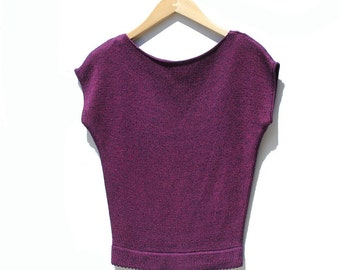 Ribbed Sweater Crop Top / purple Minimalist Top