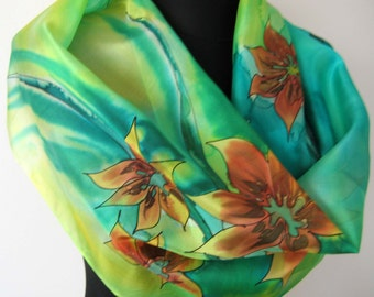 Floral hand painted green silk scarf. Shades of blue, yellow and light green. Flowers scarf. Art scarf. Black gutta lines.