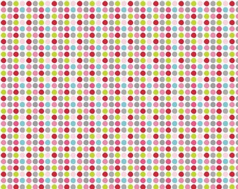 Riley Blake Christmas Fabric by the yard Holiday Dot in White 1 yard