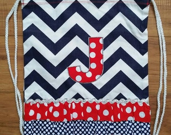 """SALE! Dance and Cheer Drawstring Backpack with """"J"""" Monogram - Personalized Backpack - Childrens Backpack - Kids Backpack - Ready to ship"""