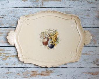 vintage serving tray fruit themed