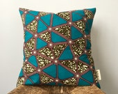 Turquoise Delta African Print Pillow Cover