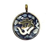 15% Valentines Day Tibetan Pendant - Tibetan Brass and Mother of Pearl Mosaic Round Pendant with OM Aum Symbol (S56-B6b)