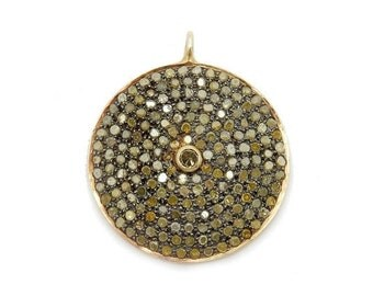 12% Mothers Day SALE Pave Diamond Gold Over Oxidized Sterling Silver Round Pendant  (EX1-11)