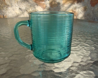 Arcoroc Jardiniere turquoise green cup mug France