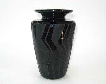 Steven Correia Signed Black Cameo Art Glass Vase - Post Modern Carved 1985 Ltd Edition