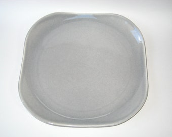 "American Modern Russel Wright Steubenville Granite Gray 13"" Chop Plate Square Serving Platter"