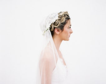 The Sarah Veil-Floral Chantilly Lace Juliet Cap Veil created with ivory cream intricate lace, soft flowing english net & small cream flowers