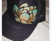 Slate grey trucker with hand painted goldy/turquoise ombre lotus