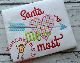 Santa loves me the most Christmas Shirt - Girl's Holiday Shirt Design