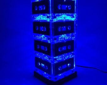 Gift for Him Blue Mixtape Cassette Tape Light Lamp Music Lover Rock n Roll 80s 90s