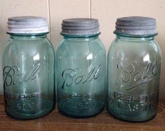 Vintage Ball Perfect Mason Jars set of 3