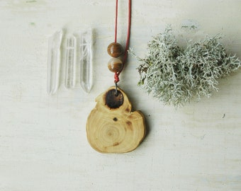 Natural wood necklace ,simple wooden necklace with natural stones,tree branch pendant necklace