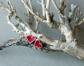 Red heart stud earrings heart studs heart earrings wooden studs