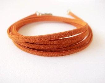 Suede Wrap Bracelet ** Tangerine**