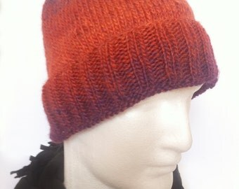 Hand-Knit Gradient Beanie Hat for Fall and Winter