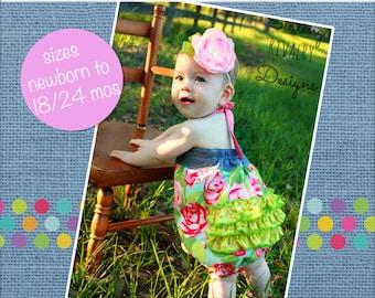 Baby Natalie's Ruffle Bottom Romper PDF Pattern Sizes Newborn to 18/24m