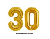 """30th Birthday Number Balloons 16"""" or 34"""" Mylar """"Pick your Color"""" Gold, Silver, Pink, Blue or Black / Pack of 2 Balloons / 16"""" Air Fill only"""