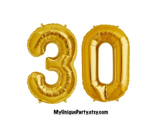 "30th Birthday Number Balloons 16"" or 34"" Mylar ""Pick your Color"" Gold, Silver, Pink, Blue or Black / Pack of 2 Balloons / 16"" Air Fill only"