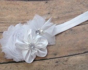 White Headband - Hair Bow Headband -  Flowers Headband - Baby, Toddler, Girls Headbands
