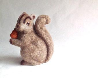 Vintage Flocked Squirrel - Acorn - Squirrel Bank - Fuzzy Squirrel - Home Decor - Table Decor - Toy Bank