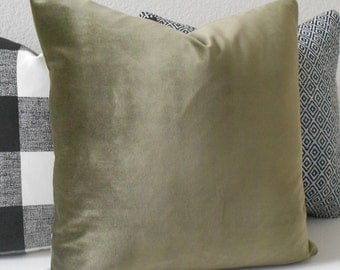 Olive green velvet decorative pillow cover