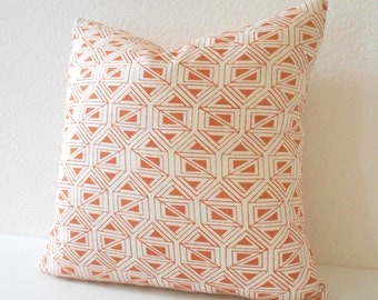 Orange coral geometric triangles decorative pillow cover
