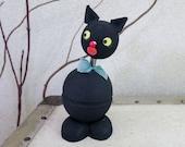 Vintage Black Cat Paper Mache Candy Container - Halloween Cat Nodder Bobble Head - Mid Century 1950's Halloween Decoration
