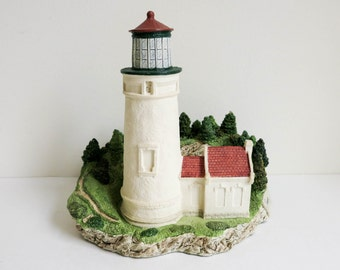 Vintage Lighthouse Figurine by Harbor Lights - Heceta Head Oregon Souvenir - Shelf Sitter or Desk Accessory - Home or Office Decor
