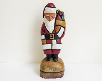 Vintage Carved Wood Santa - American Primitive Folk Art - Cubist Style - dated 1925 - Christmas Decoration