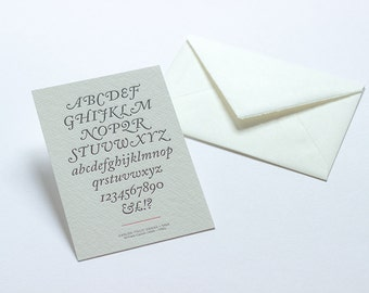 Letterpress Typography Postcard - Caslon Italic Swash.