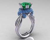 Classic 14K White Gold 3.0 Ct Emerald Blue Topaz Knot Engagement Ring R390-14KWGBTEM