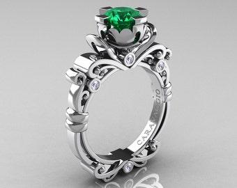 Caravaggio Renaissance 950 Platinum 1.0 Ct Emerald Diamond Engagement Ring R615-PLATDEM