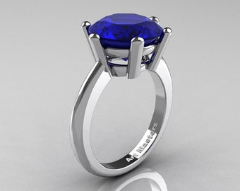 Classic Russian Bridal 14K White Gold 5.0 Carat Blue Sapphire Crown Solitaire Ring RR133-14KWGBS
